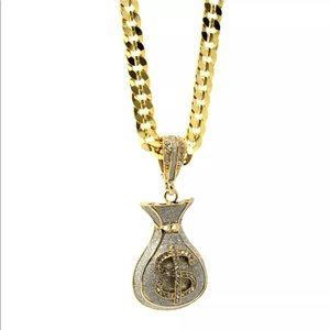 Men gold plated cash money pendant